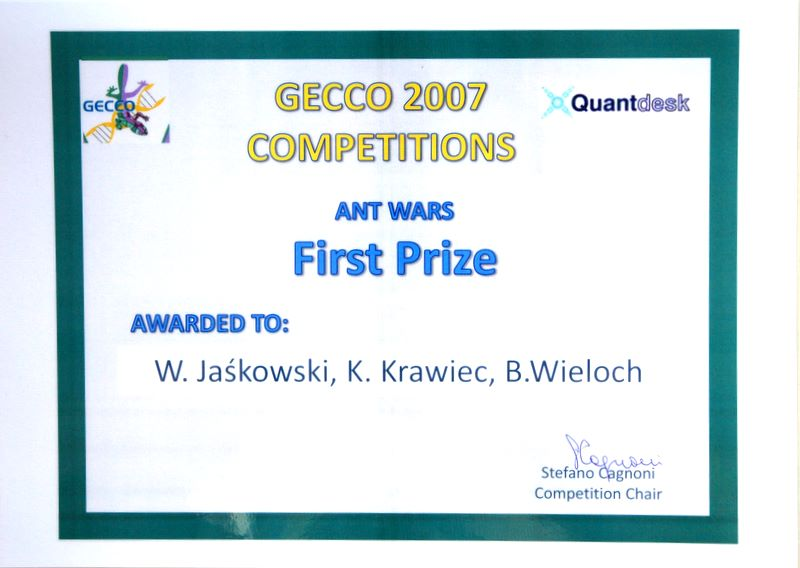 GECCO 2007 Ant Wars Winners